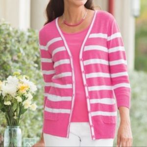 Appleseeds. Striped Deep V Neck Cardigan